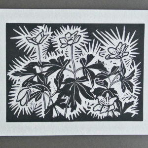 wood anenome block print