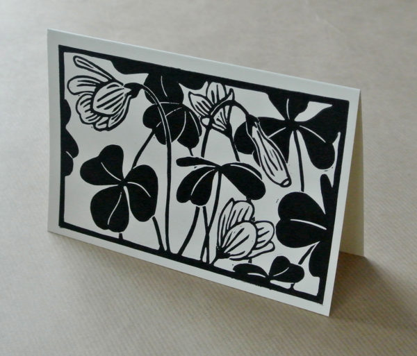 'Wood sorrel' greetings card black