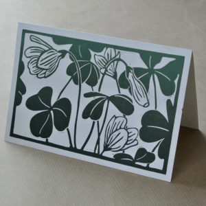 'Wood sorrel' greetings card green