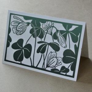 'Wood sorrel' greetings card green